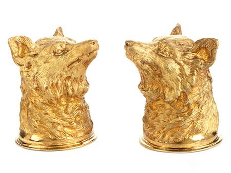 Paar silbervergoldete Fuchskopfbecher