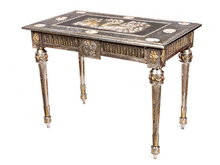 Seltener russischer Salontisch im Louis XVI-Stil mit Silberbeschlag