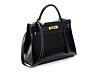Details: Nachtblaue Hermès Kelly Bag 30 cm