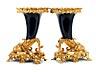 Detail images: Paar prachtvolle vergoldete Kaminaufsatzvasen mit Porzellaneinsatz