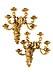 Details: Paar prachtvolle vergoldete Wandappliken mit figürlichen Darstellungen