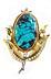 Details: Türkis-Diamant-Blütenbrosche