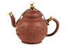 Details: Teekännchen in braunem Fensteinzeug mit vergoldeter Montierung