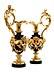 Details: Paar prächtige Kamin-Ziervasen in vergoldeter und brünierter Bronze