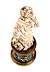 Details: Große russische Elfenbeinschnitzfigur auf einem Sockel in feuervergoldeter Bronze, belegt mit russischem Malachit