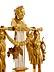 Detail images: Elegante Empire-Kaminuhr mit dem Figurenthema Homer und die Musen