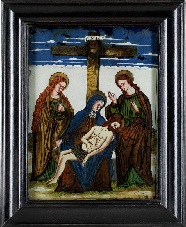 Feines Hinterglasbild Pietà