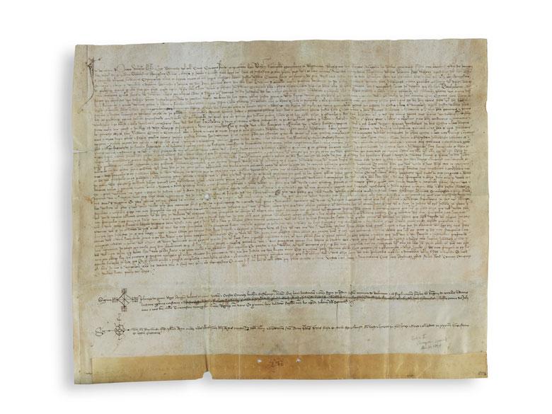 Original Handschrift im Namen von Johann I. König von Aragonien mit seinem eigenhändigen Zeichen