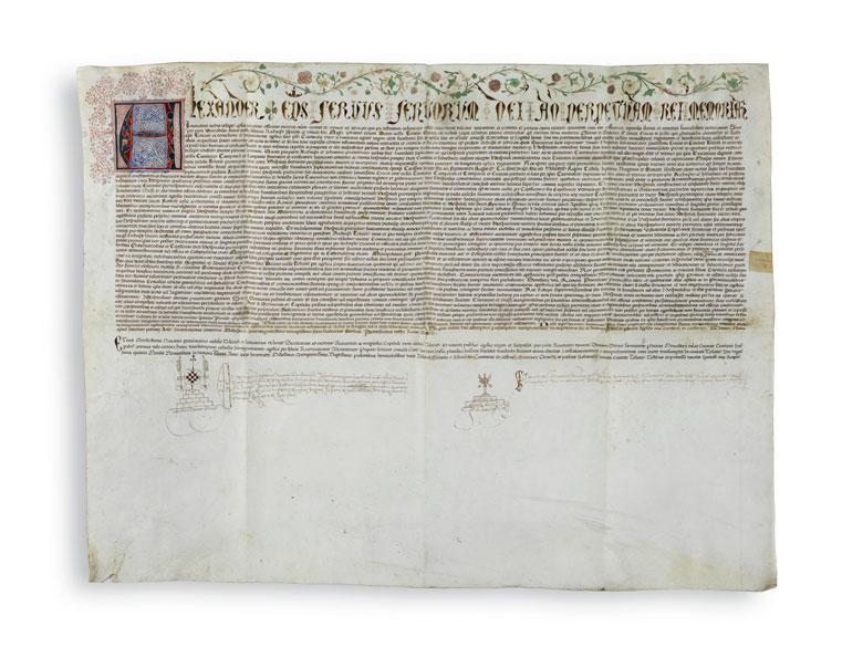 Spanische Abschrift der Papstbulle von Papst Alexander VI