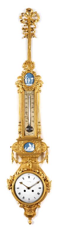 Kartelluhr mit Thermometer
