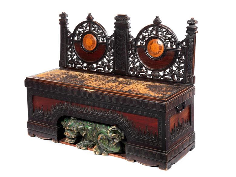 Seltene historische Sitzbank mit figürlicher Dekoration von Gabriel Viardot, 1830 – 1906, zug.