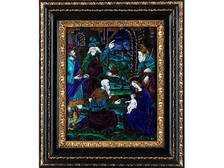 """Limoges-Emailbildtafel """"Anbetung der Könige in Bethlehem"""""""