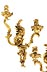 Details: Paar Louis XV-Wandleuchter in vergoldeter Bronze