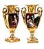 Details: Paar klassizistische Ziervasen in Vergoldung mit polychromer Malerei