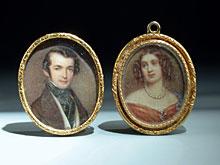 Zwei kleine Miniatur-Portraits