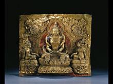 Seltenes und großes, getriebenes tibetisches Relief