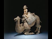 Niederkniendes Kamel mit Reiter