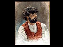 Aquarelliertes Portrait eines Mannes mit Bart