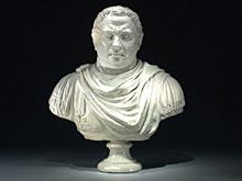 Große weiß glasierte Fayence-Büste eines Cäsaren