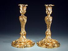 Paar französische Bronze-Leuchter, feuervergoldet