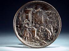 Rundes Bronzerelief mit allegorischer Darstellung