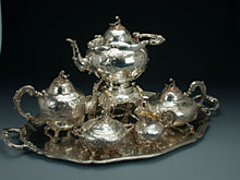 Silbernes Kaffee- und Teeservice in fünf Teilen