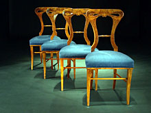 Satz von vier Biedermeier-Stühlen