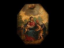 Italienisches Gemälde des 17.Jahrhunderts auf Marmor.