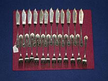 Silbernes Fischbesteck um 1910 für 12 Personen