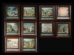 Satz von 10 höchst seltenen, allegorischen Miniatur-Gemälden des 17. Jhdts. zum Thema Amor