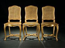 Satz von drei Rokoko-Stil-Stühlen
