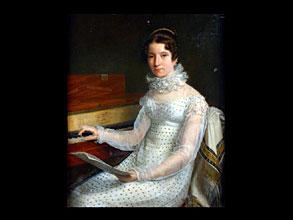 Michel Martin Drölling (gen. Drolling Fils) 1786 Paris - 1851 Paris zugeschrieben   DIE KLAVIERSPIELERIN   Junge Frau im Empire-Kleid an einem Hammerklavier. Die rechte Hand auf den Tasten in der linken Hand hält sie ein Notenblatt. Das hochgeschnürte