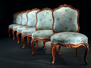 Satz Von Sechs Signierten Louis Quinze Stühlen Hampel Fine Art