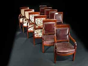 Satz von sechs Empire-Armlehnsesseln und vier dazugehörigen Stühlen
