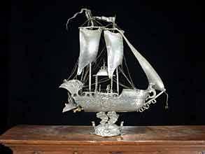 Schiffmodell in Zinn, sog. Trinkschiff aus Ulm