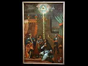 Altarblatt, mit Darstellung aus der heiligen Legende des Johann von Nepumuk
