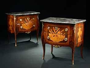 Detailabbildung:  Paar Louis XVI-Kommoden