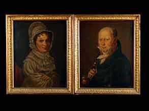 Paar Biedermeier-Portraits in originaler Rahmung