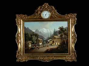 Biedermeier-Gemälde mit Rahmenuhr
