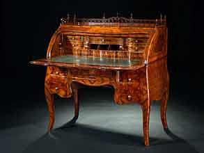 Detailabbildung:  Hochbedeutendes Zylinderbureau von Johann Wolfgang Elias Weinsprach, 1712 Öhringen - 1776 Bruchsal.