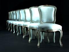 Satz von 8 gefaßten und versilberten Stühlen