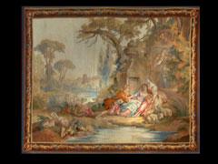 Französischer Gobelin mit einer Schäferszene in romantischer Landschaft