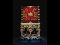 Detailabbildung: Seltenes englisches Chinoiserie-Lack-Kabinett