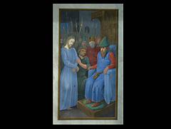 Miniaturgemälde: Jesus vor Kajphas