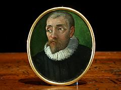 Miniaturportrait eines älteren Herrn im schwarzen Gewand mit weisser Halskrause