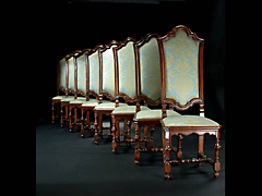 Seltener Satz von acht norditalienischen Barockstühlen