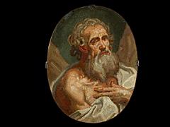 Ovales Mosaikbild mit Darstellung eines Apostels