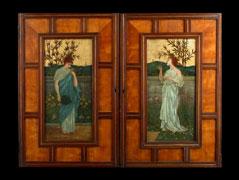 Paar furnierte und mit je einem Ölbild bemalte Schranktüren