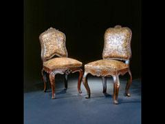 Paar Barock-Stühle mit Lederbezügen