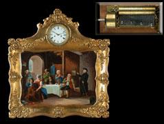 Biedermeier-Rahmenuhr mit einem originellen Genre-Ölgemälde